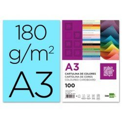Cartulina Liderpapel color celeste a3 180 g/m2