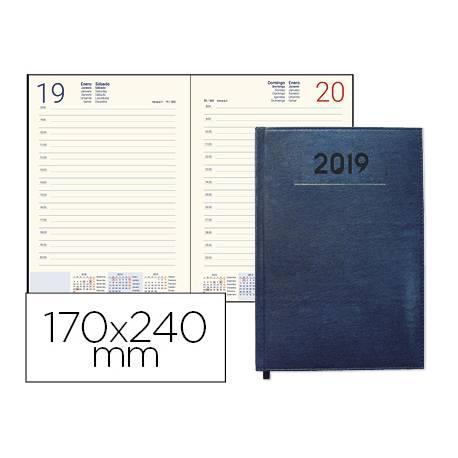 Agenda 2019 Encuadernada Creta Dia pagina 170x240 mm Azul Liderpapel