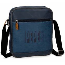 Bandolera Pepe Jeans 27x23x6 cm de Piel Sintetica Max azul Porta tablet