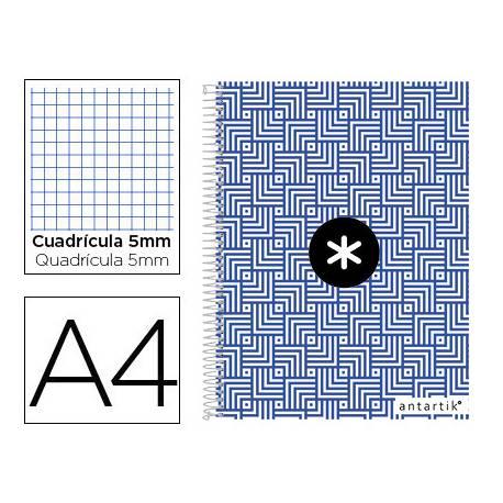 Cuaderno espiral Antartik Din A4 Tapa forrada 100g/m2 Azul