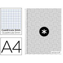 Cuaderno espiral Antartik Din A4 Tapa forrada 100g/m2 Gris