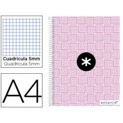 Cuaderno espiral Antartik Din A4 Tapa forrada 100g/m2 Rosa