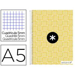 CCuaderno espiral Antartik Din A5 Tapa forrada 100g/m2 Amarillo