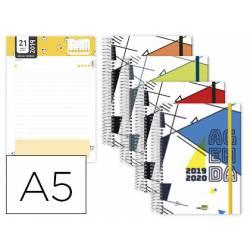 Agenda Escolar 19-20 Liderpapel Classic DIN A5 Un dia pagina Espiral Bilingüe Cierre con goma Colores Surtidos