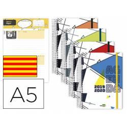 Agenda Escolar 19-20 Liderpapel Classic DIN A5 Un dia pagina Espiral Catalan Cierre con goma Colores Surtidos