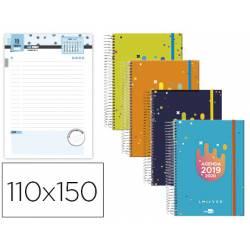 Agenda Escolar 19-20 Dia pagina Mini con Espiral Bilingüe Liderpapel College Date No se puede elegir color