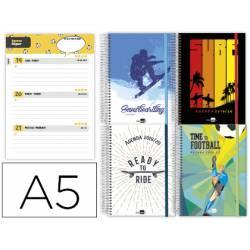 Agenda Escolar 19-20 Semana vista DIN A5 con Espiral Bilingüe Liderpapel Fantasia Sport Starts No se puede elegir modelo