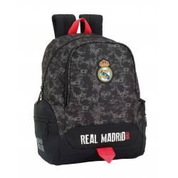 Mochila Escolar Real Madrid 43x32x17 cm Adaptable a Carro Poliester Black
