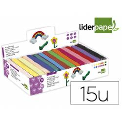 Plastilina Liderpapel colores surtidos caja 15 unidades