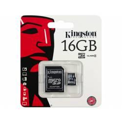 MEMORIA SD MICRO KINGSTON 16 GB CLASE 4 CON ADAPTADOR SDHC