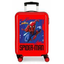 Maleta de cabina Spiderman Street rígida en rojo 55x38x20cm