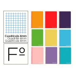 Cuaderno espiral Liderpapel Witty Tamaño Folio Tapa dura Cuadricula 4mm 75 g/m2 Con margen Colores surtidos