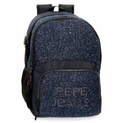 Mochila Pepe Jeans 33cmx46cmx17 cm para portátil dos compartimentos azul.