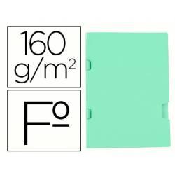 Subcarpeta plastificada Liderpapel Tamaño folio Verde 160 g/m2 Tres uñeros