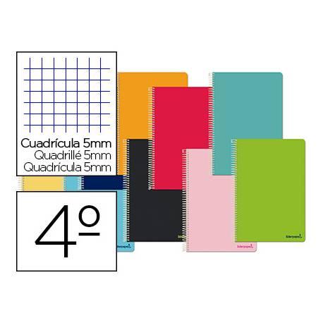 Cuaderno espiral Liderpapel Smart Tamaño cuarto Tapa blanda Cuadricula 5 mm 60 g/m2 Con margen Colores surtidos