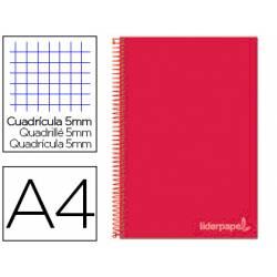 Cuaderno espiral Liderpapel Jolly Tamaño DIN A4 Tapa forrada Cuadricula 5 mm 75 g/m2 5 bandas 4 taladros color Rojo