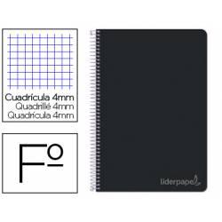 Cuaderno espiral Liderpapel Witty Tamaño folio 80 hojas Tapa dura Cuadricula 4 mm 75 g/m2 Con margen color Negro