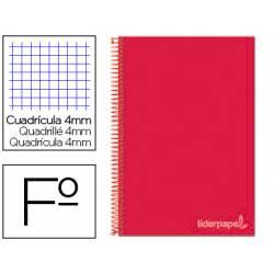 Cuaderno espiral Liderpapel Witty Tamaño folio 80 hojas Tapa dura Cuadricula 4 mm 75 g/m2 Con margen en color Rojo