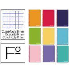 Cuaderno espiral Liderpapel Witty Tamaño Folio 80 hojas Tapa dura Cudricula 6 mm 75 g/m2 Con margen Colores surtidos