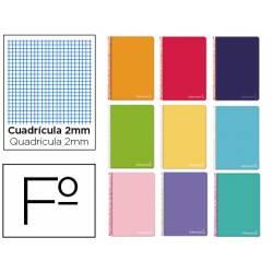 Cuaderno espiral Liderpapel Witty Tamaño folio Tapa dura Milimetrado 2 mm 75 g/m2 Colores Surtidos