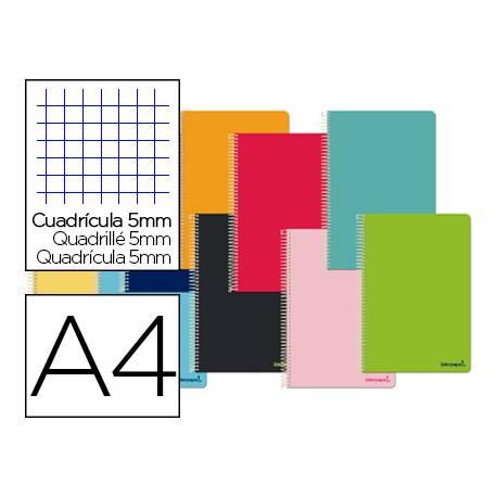 Cuaderno espiral Liderpapel Smart Tamaño DIN A4 Tapa blanda Cuadricula 5 mm 60 g/m2 Con margen Colores surtidos
