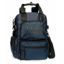 Mochila Pepe Jeans Bromley Con Bandolera azul 42 cm 28x41x16 cm Sin carro