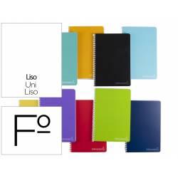 Cuaderno espiral Liderpapel Witty Tamaño folio Tapa dura Liso 75 g/m2 Sin margen Colores surtidos