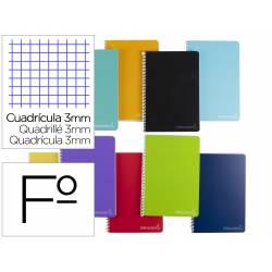 Cuaderno espiral Liderpapel Witty Tamaño folio Tapa dura Cuadicula 3 mm 75 g/m2 Con margen Colores surtidos