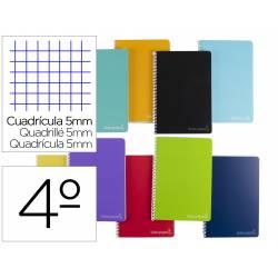 Cuaderno espiral Liderpapel Witty Tamaño cuarto Tapa dura Cuadro 5 mm 75 g/m2 Con margen Colores surtidos