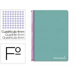 Cuaderno espiral Liderpapel Witty Tamaño folio Tapa dura Cuadro 4 mm 75 g/m2 Con margen Turquesa