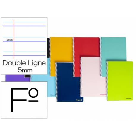 Cuaderno espiral liderpapel folio smart tapa blanda 80h 60gr rayado montessori 5mm con margen colores surtidos