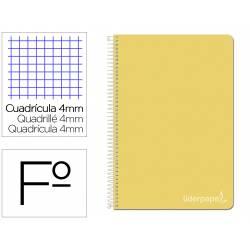 Cuaderno espiral Liderpapel Witty Tamaño folio Tapa dura Cuadrícula 4mm 75g/m2 Amarillo Con margen