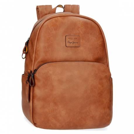 """Mochila Pepe Jeans 44x32x15 cm para portátil 15,6"""" marrón de piel sintética."""