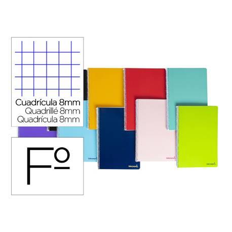 Cuaderno espiral Liderpapel folio smart Tapa blanda 80h 60gr cuadro con margen Colores surtidos (no se puede elegir)