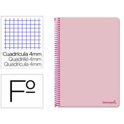 Cuaderno espiral Liderpapel folio smart Tapa blanda 80h 60gr cuadro 4mm con margen Color rosa
