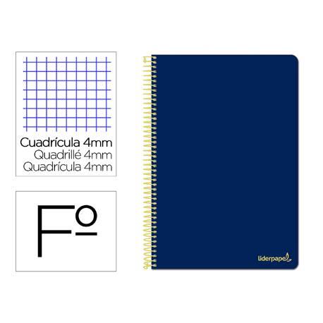 Cuaderno espiral Liderpapel folio smart Tapa blanda 80h 60gr cuadro 4mm con margen Color azul oscuro
