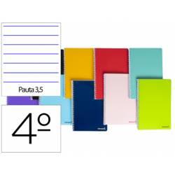 Cuaderno espiral Liderpapel cuarto smart Tapa blanda 80h 60gr Pauta 3,5mm Con margen Colores surtidos (no se puede elegir)