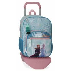 Mochila Escolar Frozen 40x32x12 cm con carro de poliéster.