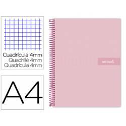 Bloc Liderpapel Din A4 crafy cuadrícula 4mm tapa forrada 90 gr 80 hojas rosa