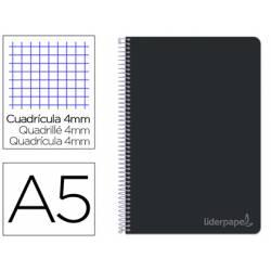 Bloc Liderpapel cuarto witty cuadrícula 5mm tapa dura 75 gr color negro