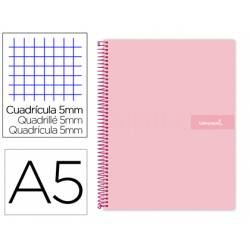 Bloc Liderpapel cuarto witty cuadrícula 5mm tapa dura 75 gr color rosa.