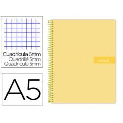 Bloc liderpapel Din A5 micro crafty cuadrícula 5mm tapa forrada 90 gr color amarillo