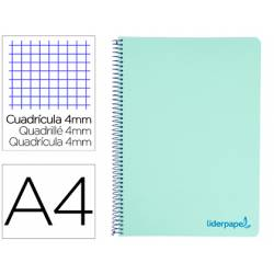 Bloc Liderpapel Din A4 wonder cuadrícula 4mm tapa polipropileno 90 gr color verde