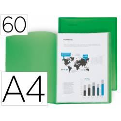 Carpeta escaparate 60 fundas Liderpapel DIN A4 polipropileno color verde