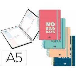 Agenda escolar liderpapel 20-21 classic din-a5 bilingue dos dia pagina espiral cierre con goma.