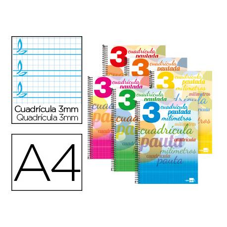 Libreta marca Liderpapel Pautaguia Tapa cartoncillo 32 hojas Din A4 70 g/m2 cuadriculado pautado 3 mm Colores surtidos