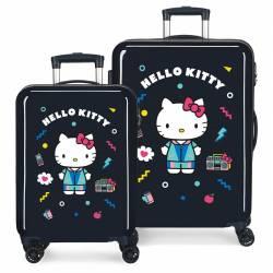 Juego de Maletas Castle of Hello Kitty rígidas 55-68cm Azul Marino