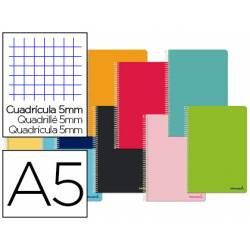 Libreta Liderpapel Smart Tamaño DIN A5 Tapa blanda Cuadricula 5 mm 60 g/m2 Con margen Colores surtidos
