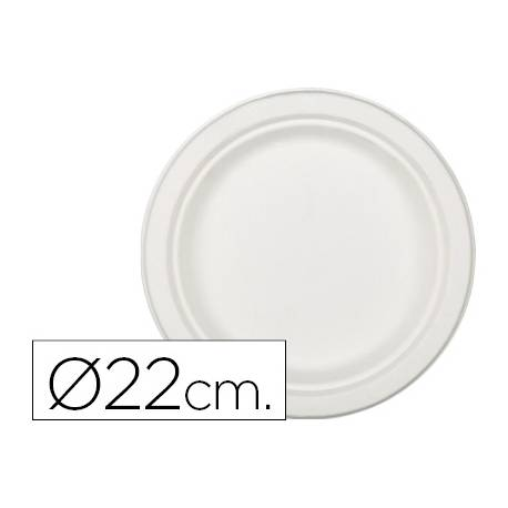Plato de fibra natural Nupik 22cm color blanco