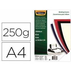 Tapa de Encuadernacion Carton Brillo Fellowes DIN A4 Color Azul 250 micras pack 100 uds